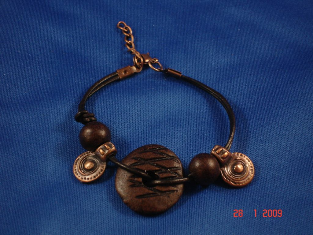Brown Leather Contemporary Bracelet, Copper Charms
