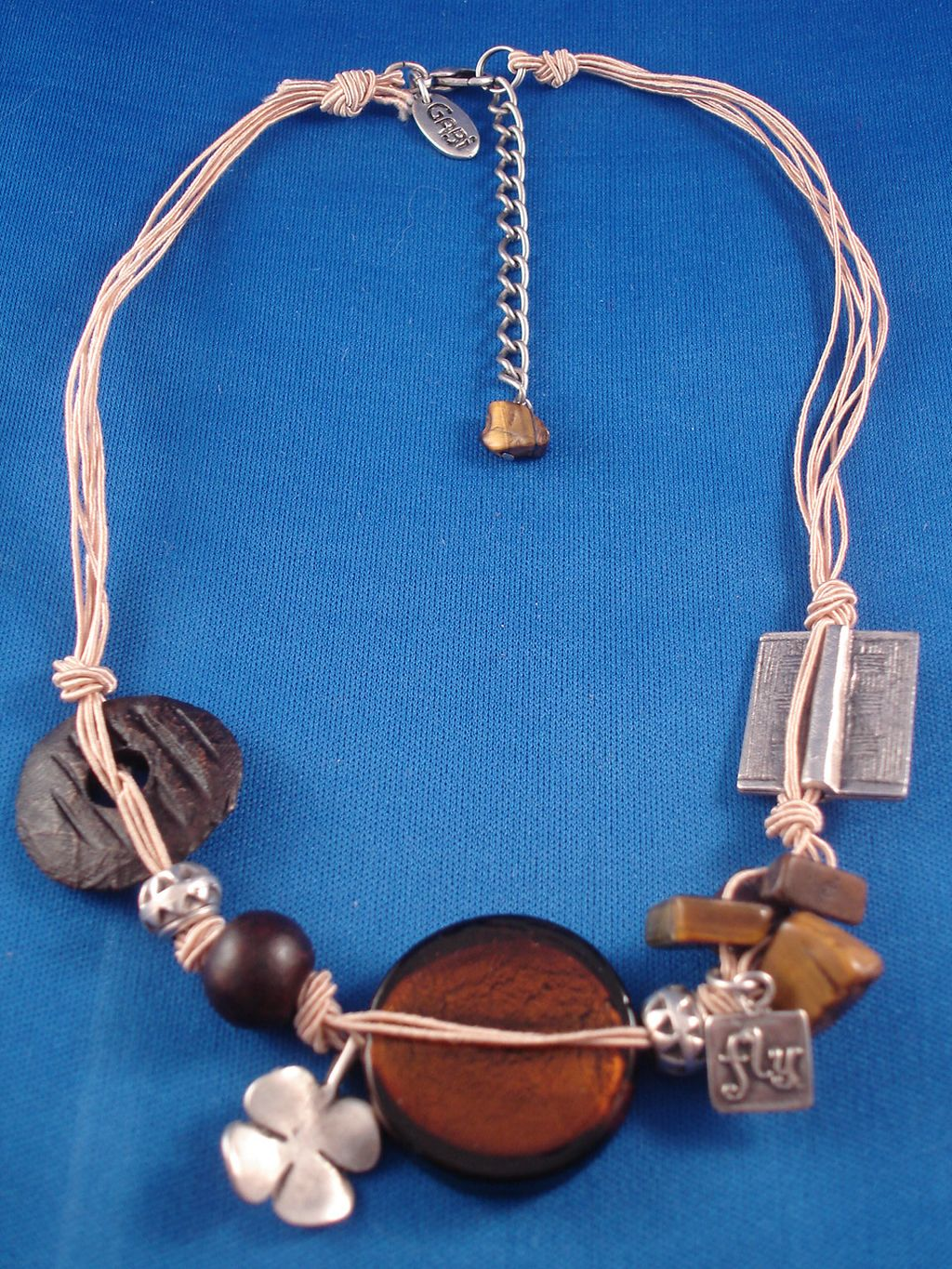 Brown/Beige Necklace, Stained Glass, Ceramic, Genuine Stones, Metal Charms & Beads, Cotton Cord, European Fashion Jewelry