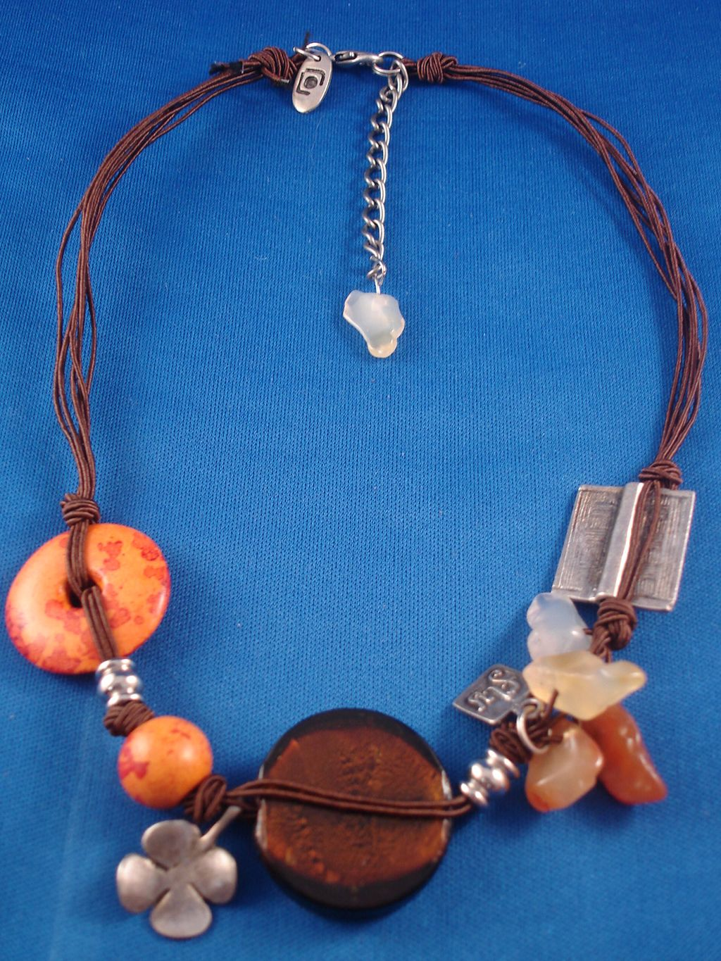 Brown/Orange Necklace, Stained Glass, Ceramic, Genuine Stones, Metal Charms & Beads, Cotton Cord, European Fashion Jewelry