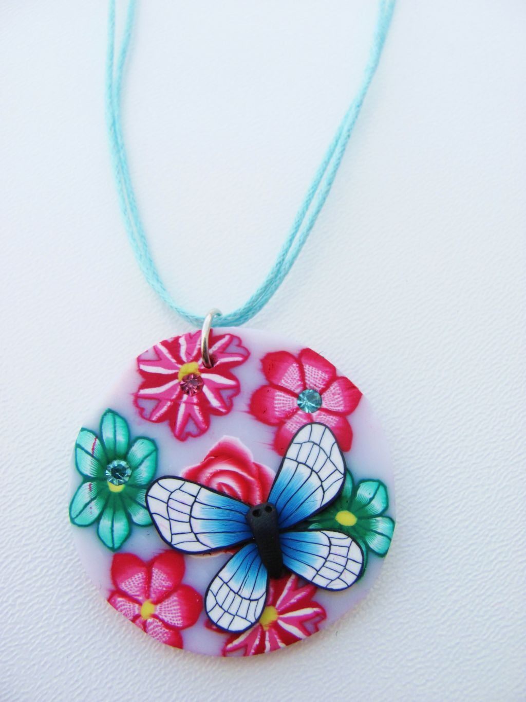 Butterfly & Flowers Girls Summer Colors Beach Pendant Necklace, Blue Cotton Strings
