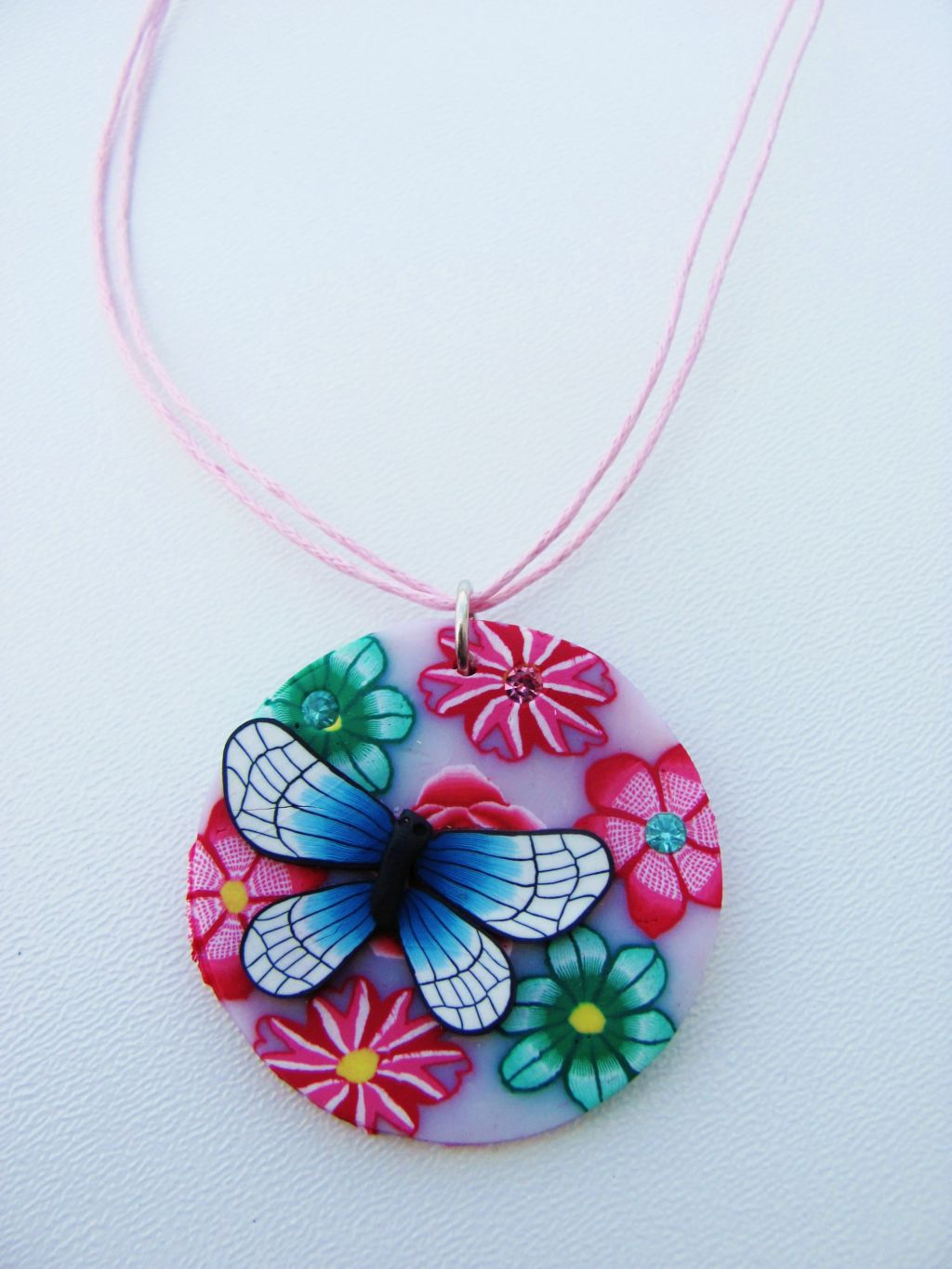 Butterfly & Flowers Girls Summer Colors Beach Pendant Necklace, Pink Cotton Strings