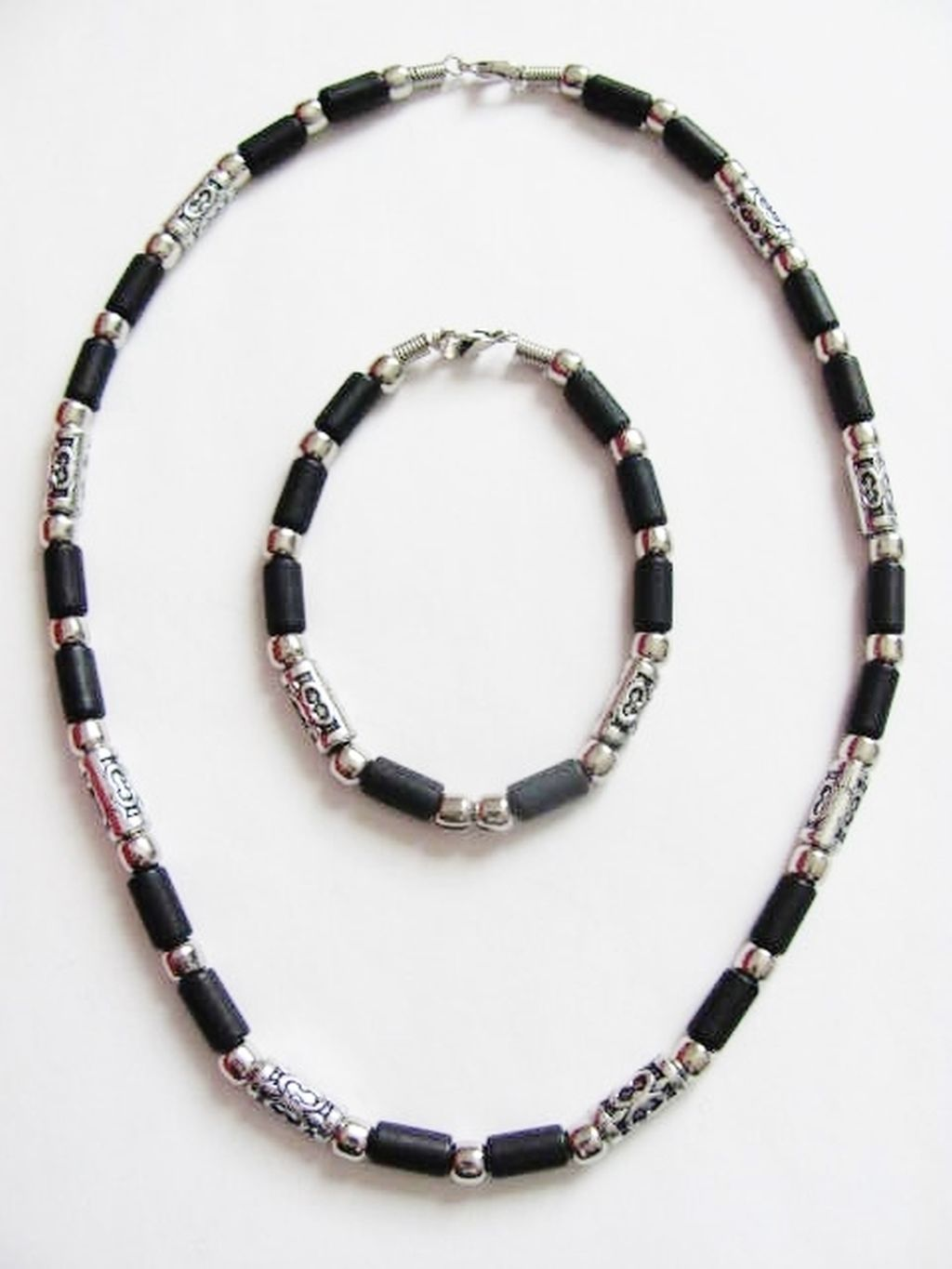 Dusk-till-Dawn Cancun Beach Survivor Beaded Necklace Bracelet, Men's Surfer Choker Black Set