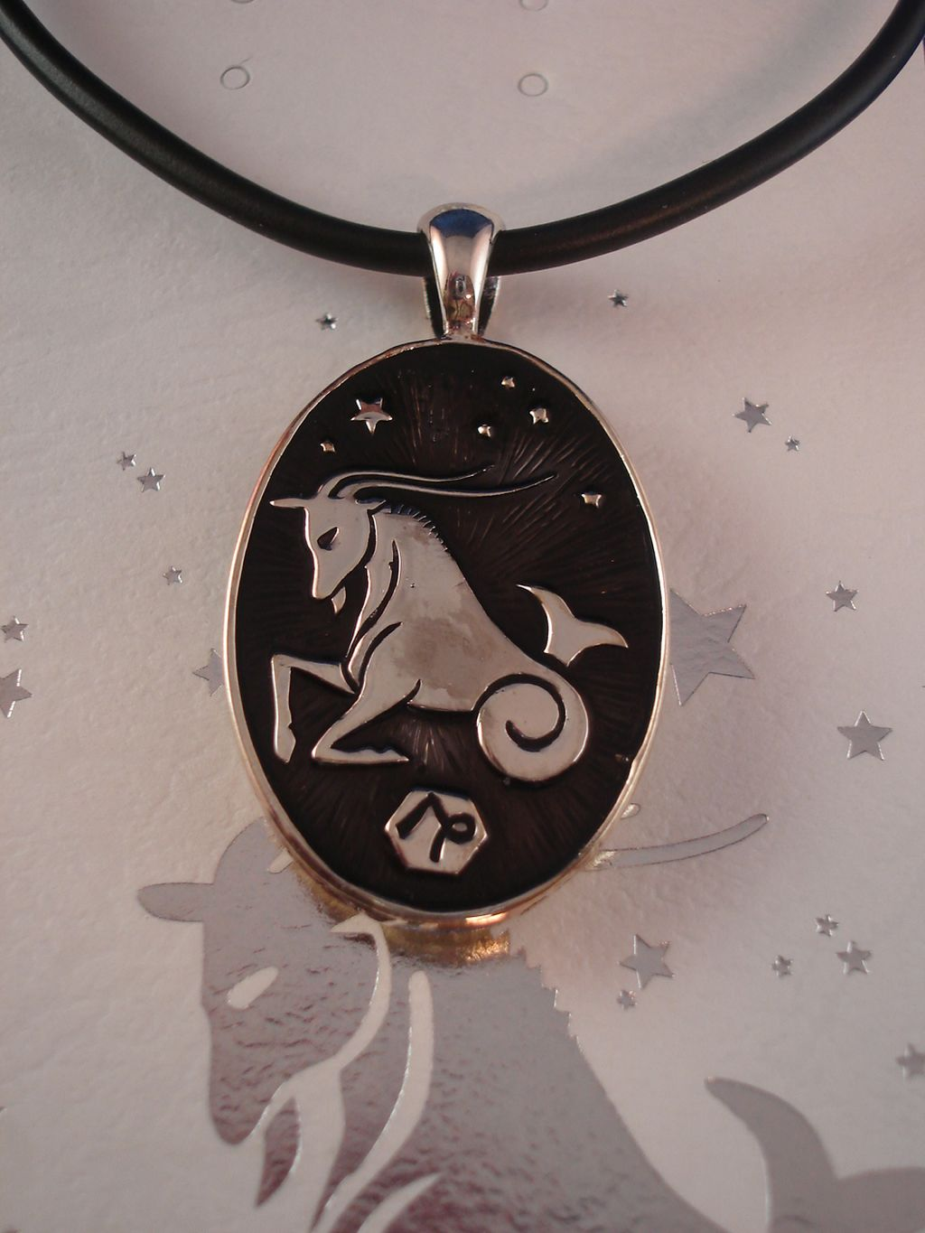 Capricorn Symbol Zodiac Sign Necklace, Reversible Metal Pendant w/ Side Engraving
