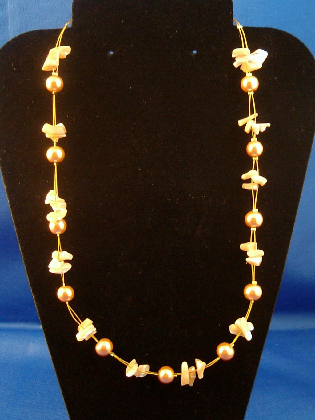 Champagne Necklace, Two Layers of Genuine Shells & Artificial Pearls, Fashion European Jewelry
