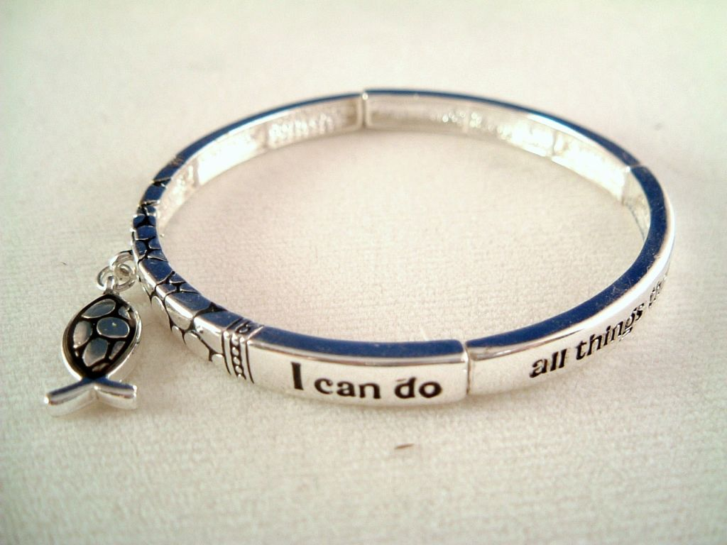Christian Faith Inspirational Stretching Bangle Bracelet, Fish Charm, Silver Finish Metal, Anti-allergic Jewelry