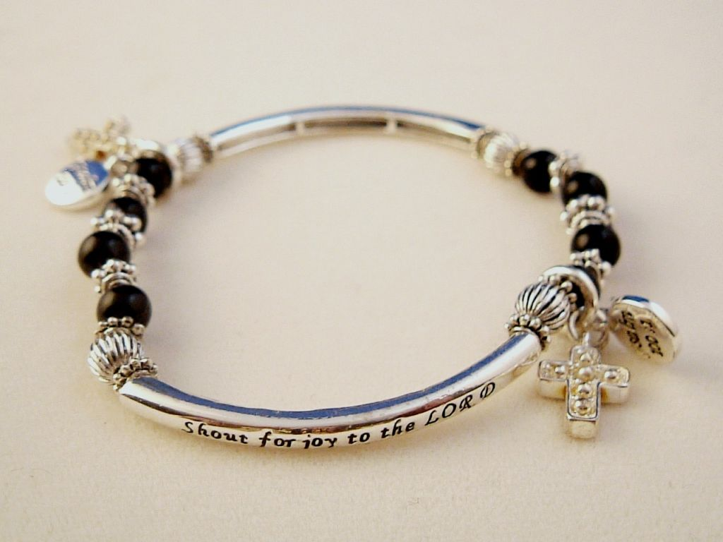 Christian Faith Inspirational Stretching Bracelet, Cross Charm, Black Ball Beads, Silver Finish Metal, Anti-allergic Jewelry
