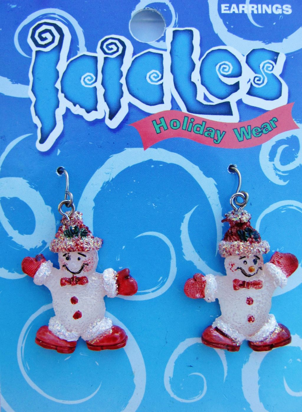 Christmas Red Snowman Holiday Hook Earrings