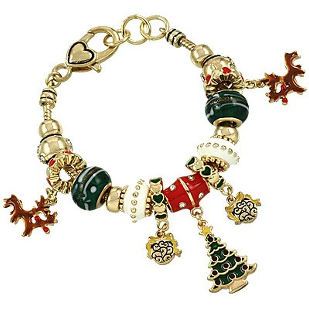 Christmas Theme Pandora Inspired Charm Bracelet, Gold Plated