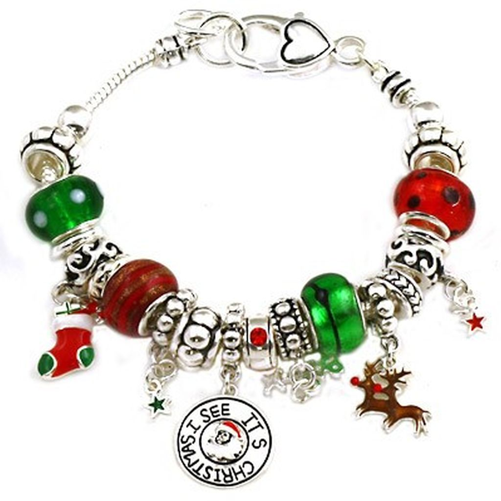 Christmas Theme Pandora Inspired Charm Bracelet, Silver Plated & Murano Beads