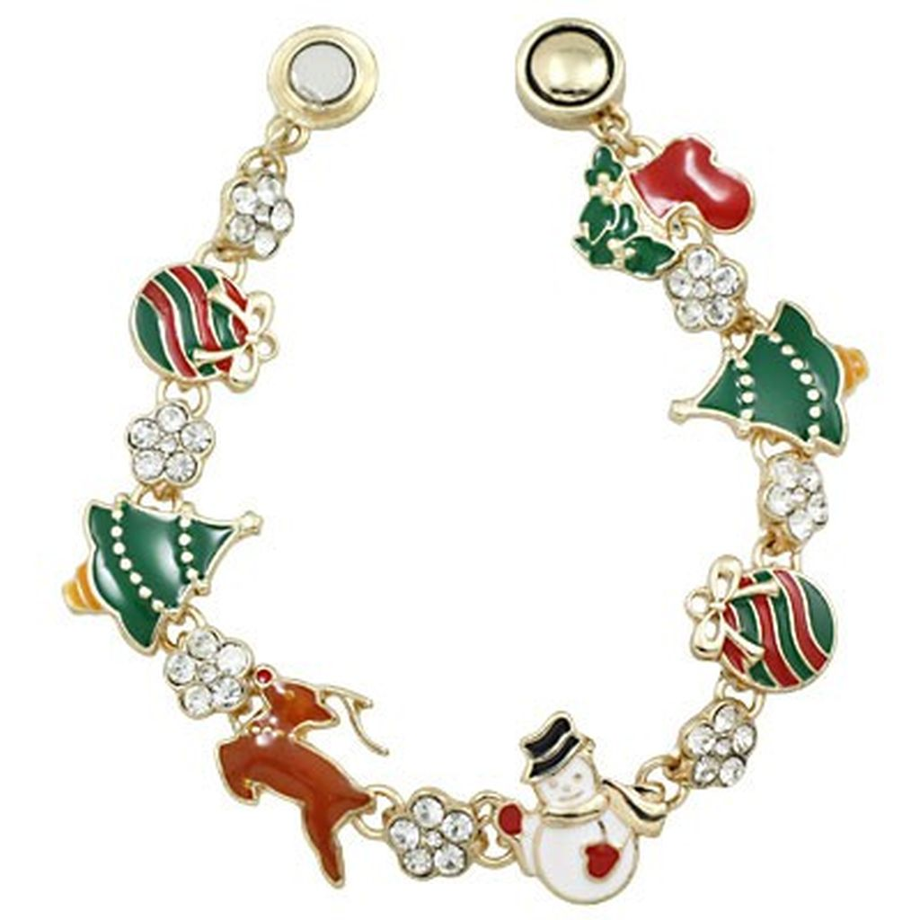 Christmas Theme Rhinestones Magnetic Bracelet, Gold Plated
