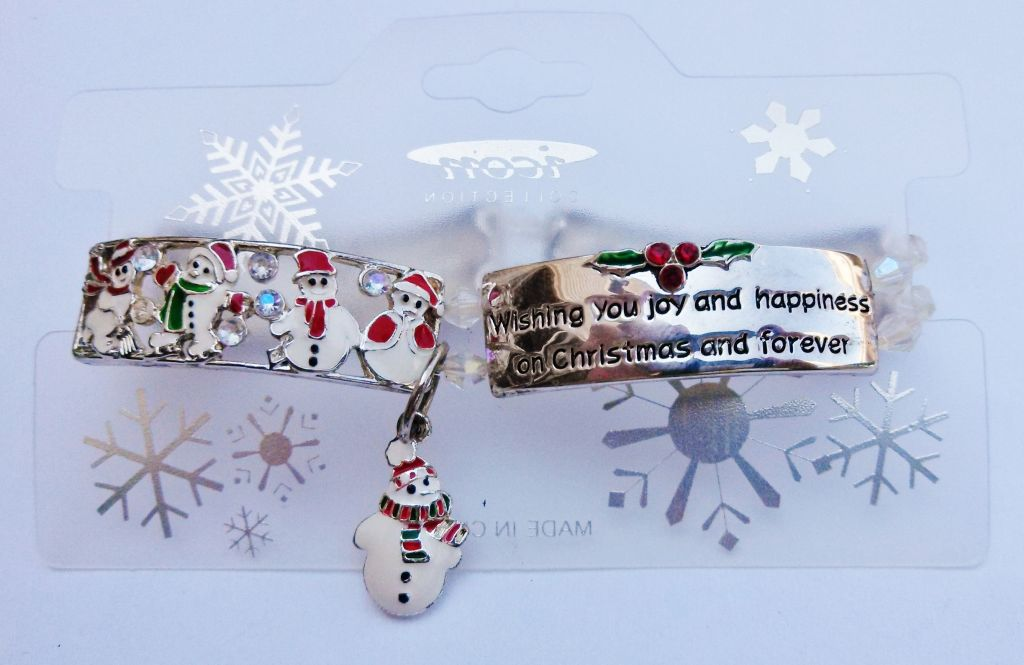 Christmas Wish Message Snowman Charm Bracelet Stretching