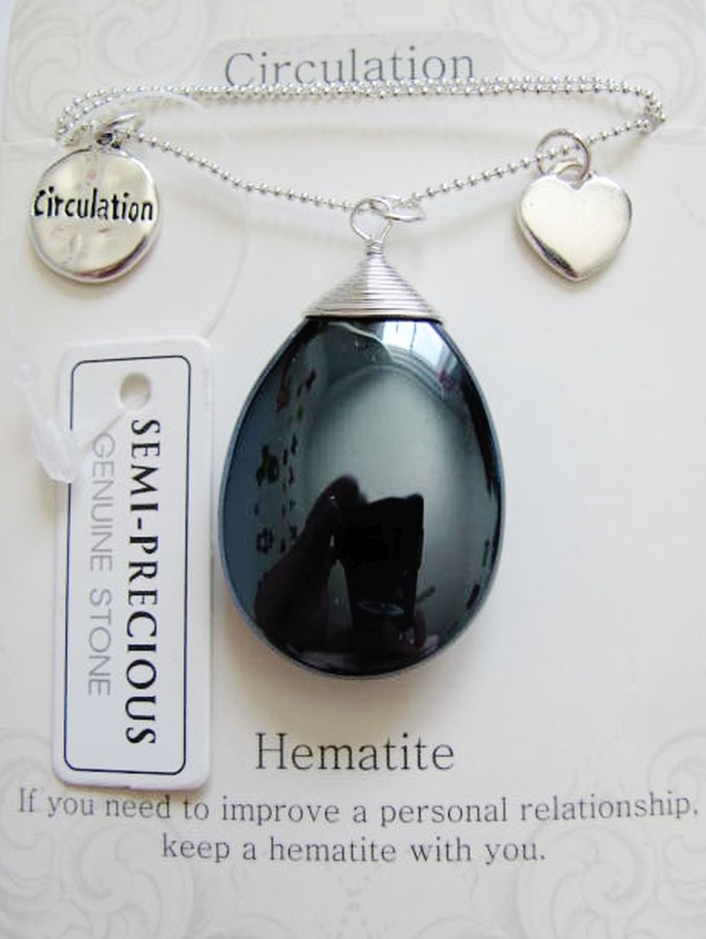 Circulation Stone Genuine Hematite Tear Drop Pendant Necklace w/ Charms