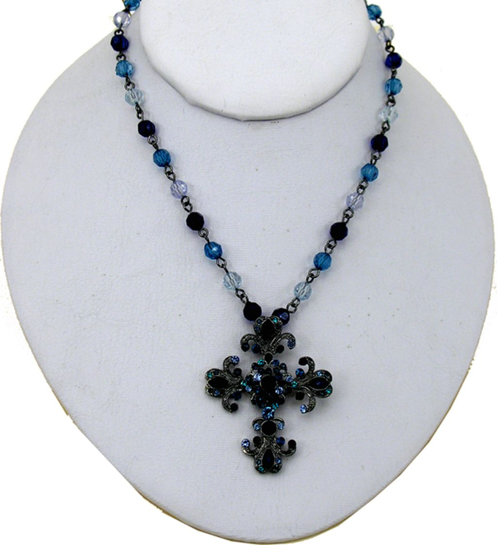 Classic Style, Fashion Cross Necklace, Bronze/Glass Blue Color Pendant, Multicolor Beads