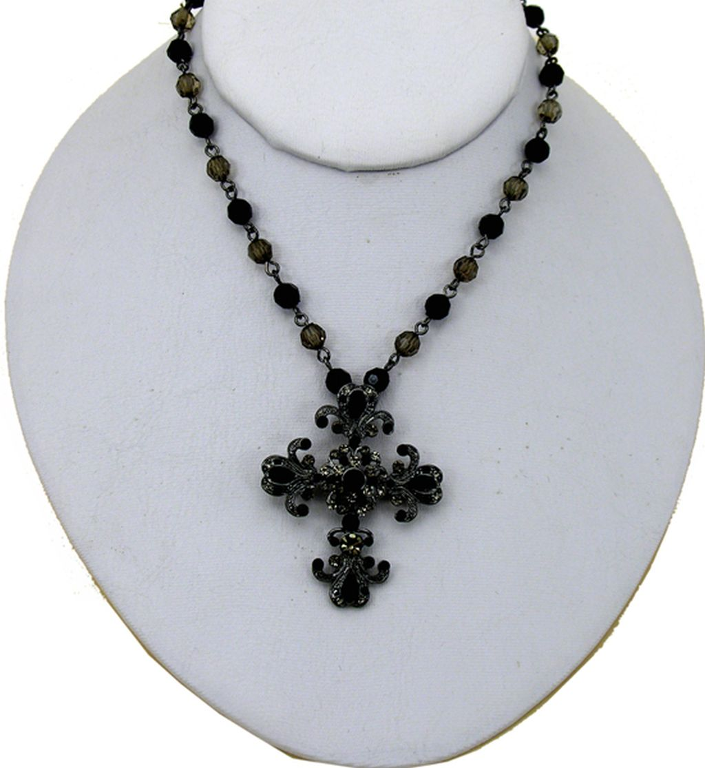 Classic Style, Fashion Cross Necklace, Bronze/Glass Pendant, Black Diamond Color Beads