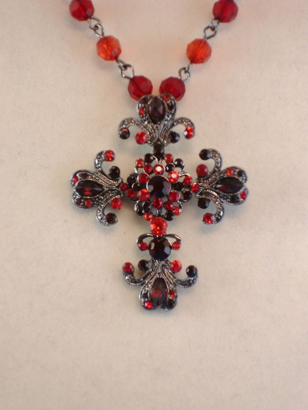 Ruby-Red Cross Pendant Necklace, Classic Vintage Style Smoked Tone/Glass