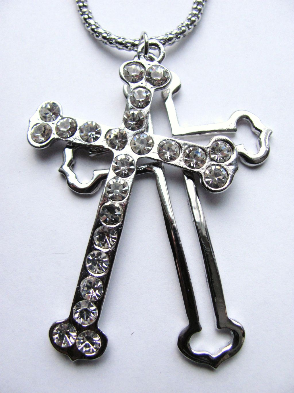 Classic Style Silver Double Cross Pendant Necklace Genuine Crystals