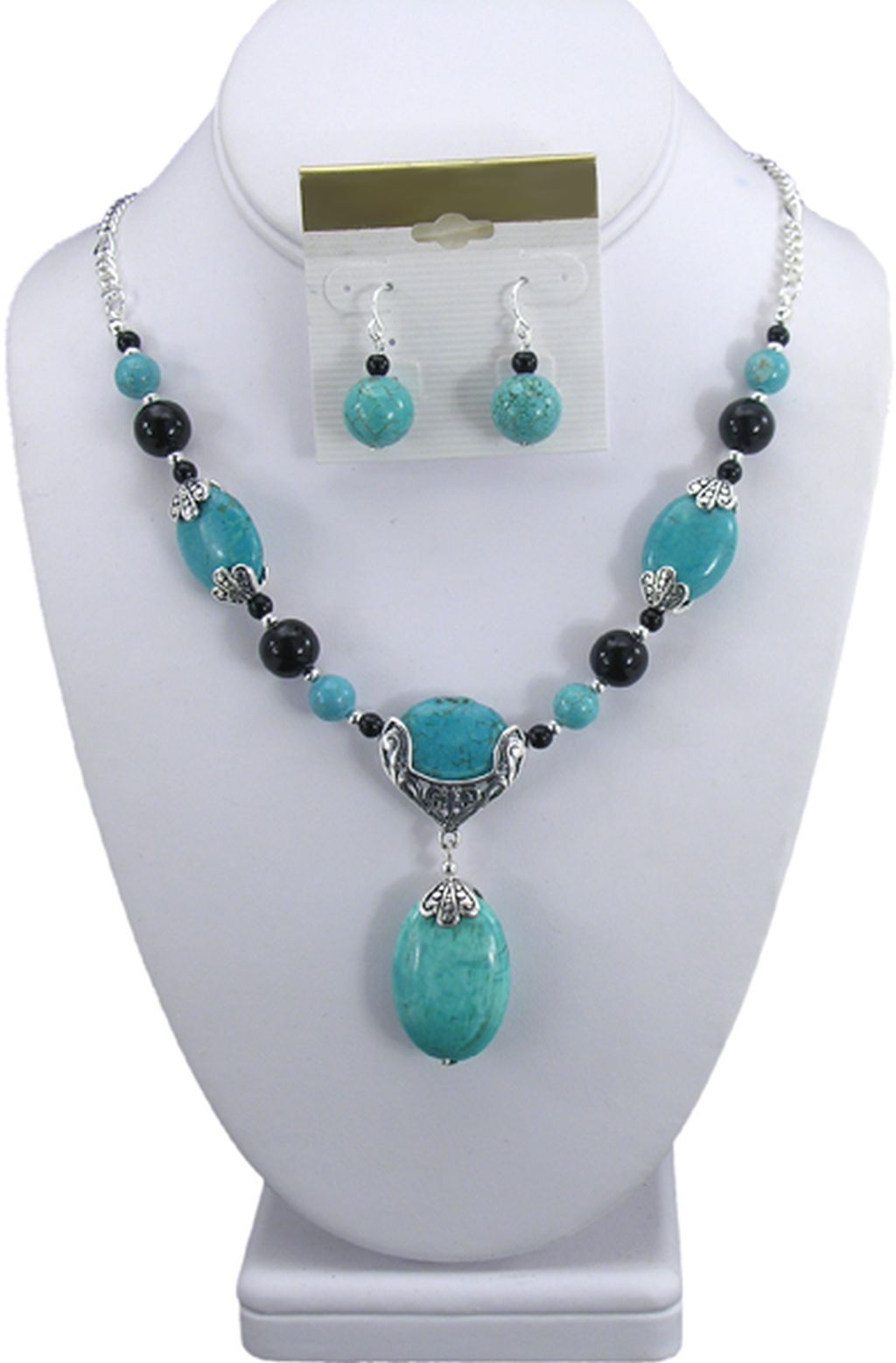 Classy Style Set of Necklace & Earrings, Turquoise Genuine Stones, Pendant, Beads, Sterling Silver Plated, Anti-allergic Jewelry