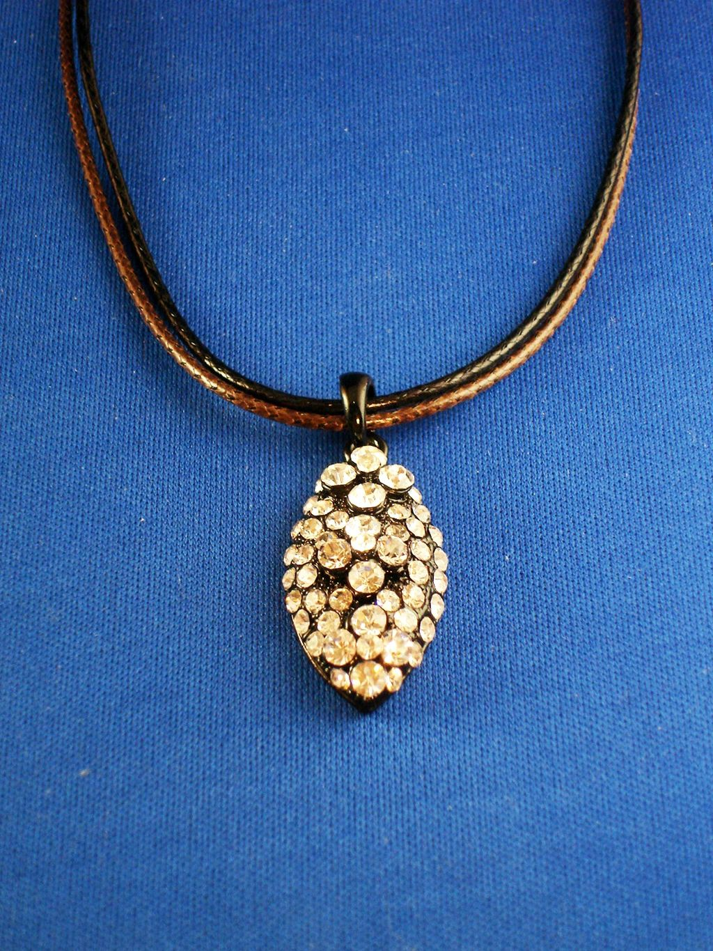 Clear Austrian Crystals Oval Pendant Necklace, Black & Brown Cord, European Faashion Jewelry