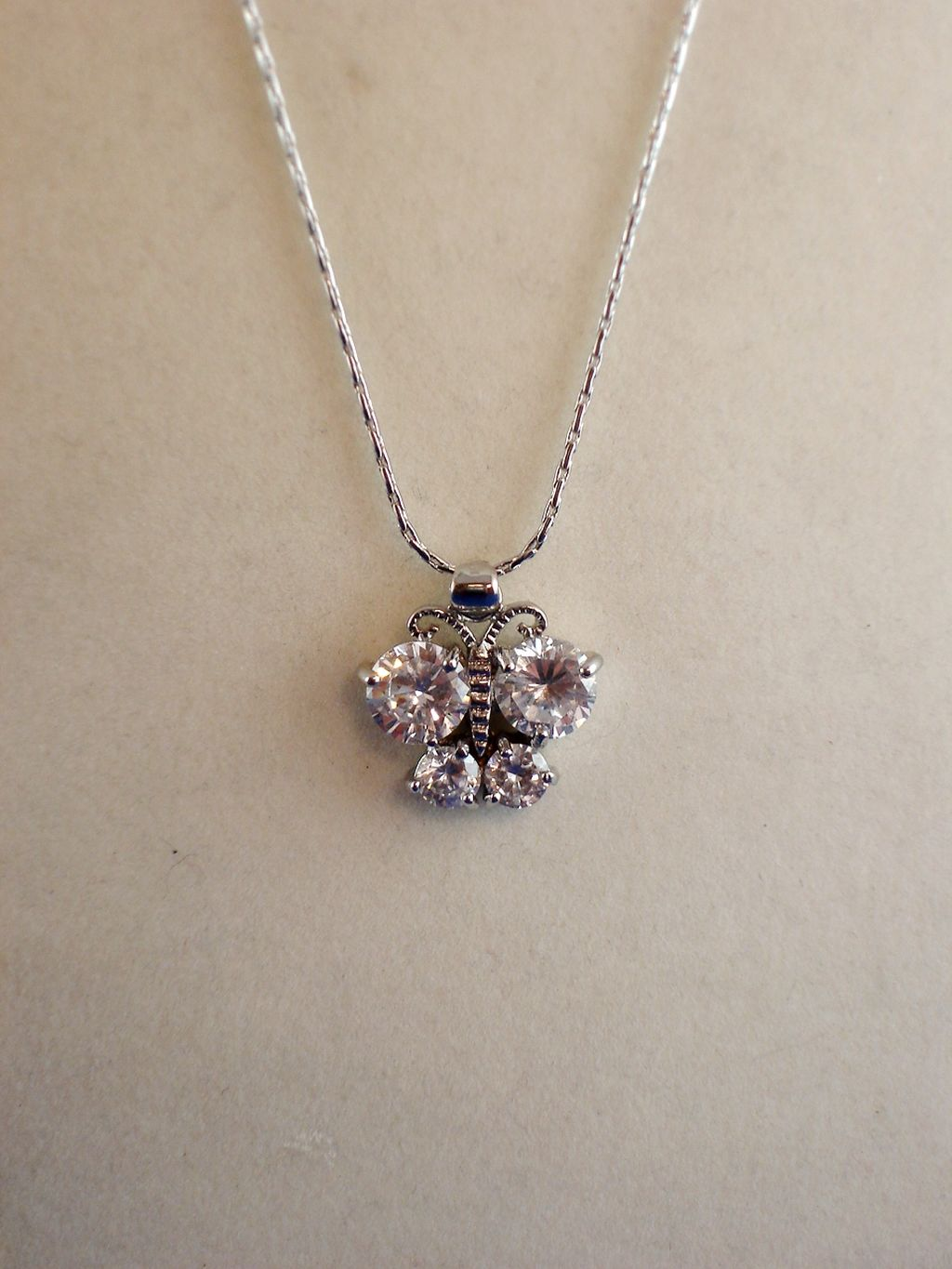 "Clear Cubic Zirconia Butterfly NeckLace, CZ Crystals, Sterling Silver Plated 16"" Chain, Anti-allergic Jewelry"