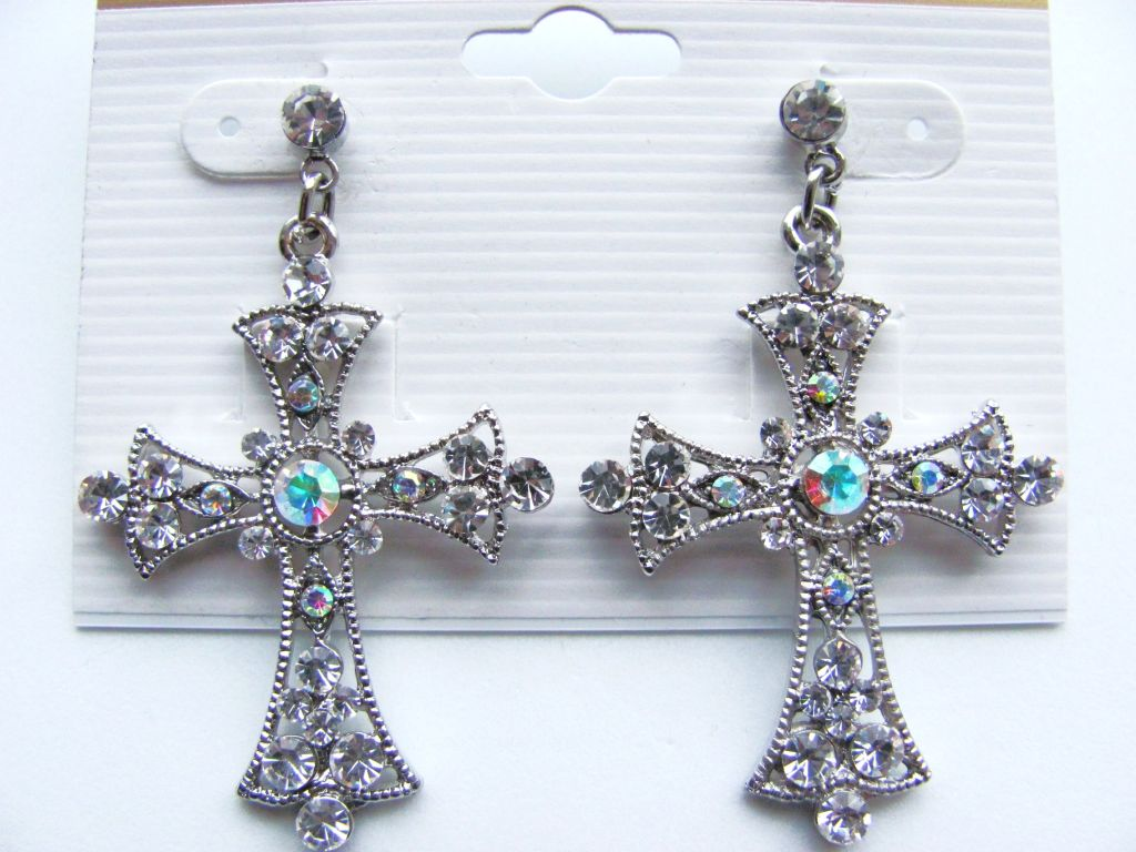 Clear Diamond Cross Post Earrings Genuine CZ Stones