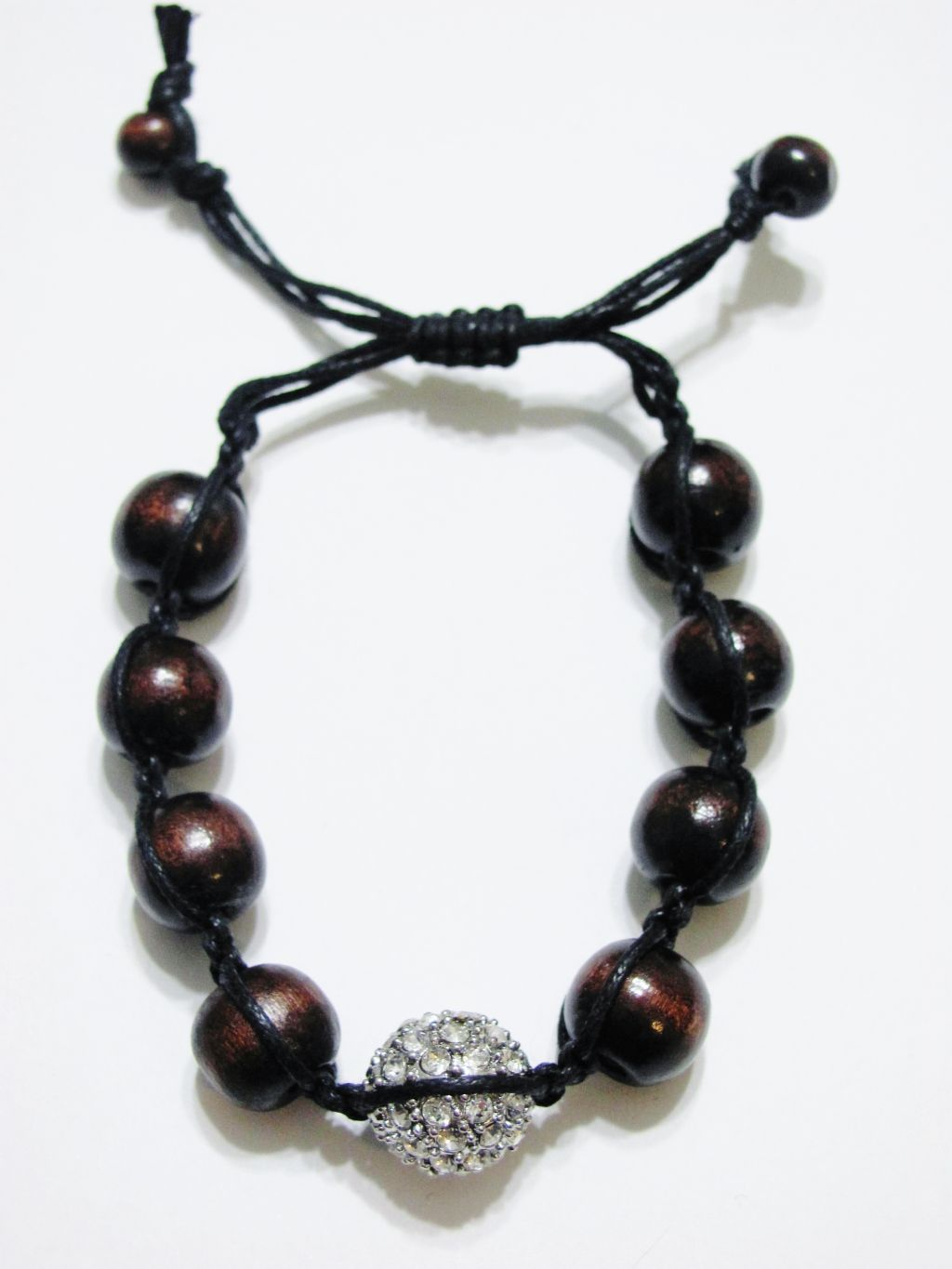 Clear Diamond Silver Ball & Wooden Beads Shamballa Bracelet