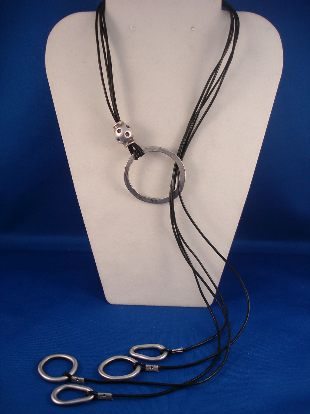 Contemporary Black Genuine Leather Necklace, Adjustable Length, European Fashion Jewelry
