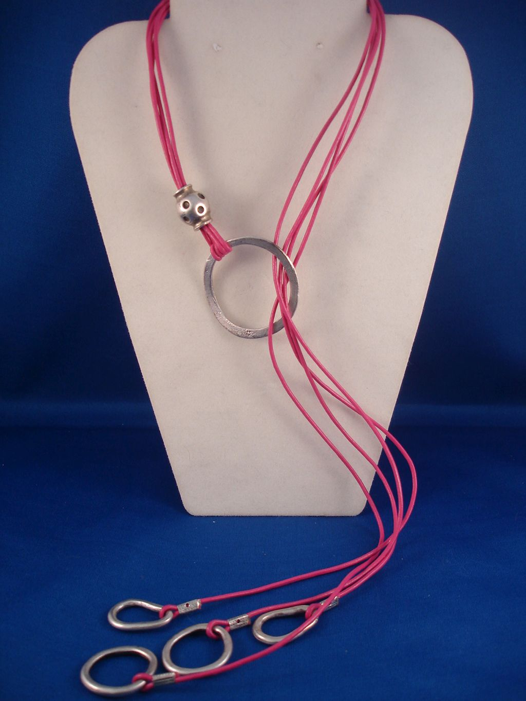 Contemporary Pink Genuine Leather Necklace, Adjustable Length, European Fashion Jewelry