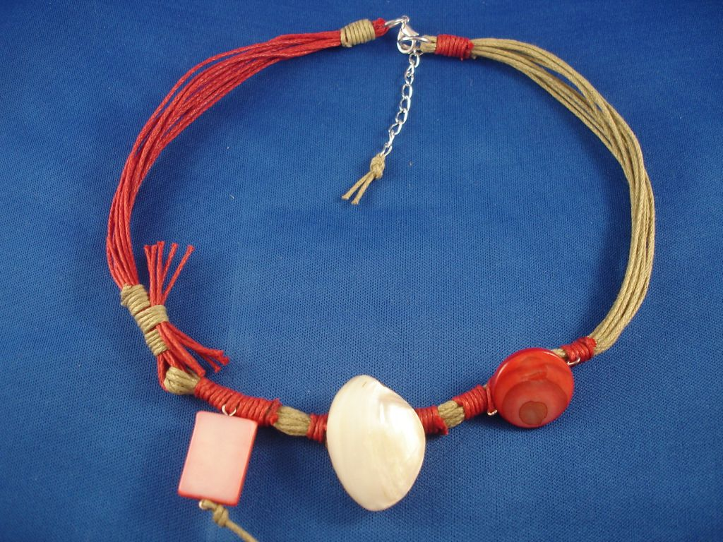 Contemporary Red Cotton Necklace, Shell & Wood Charm