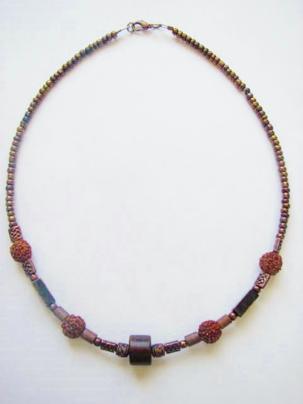 Copper Hematite Men's Surfer Style Beaded Necklace, Beach Choker