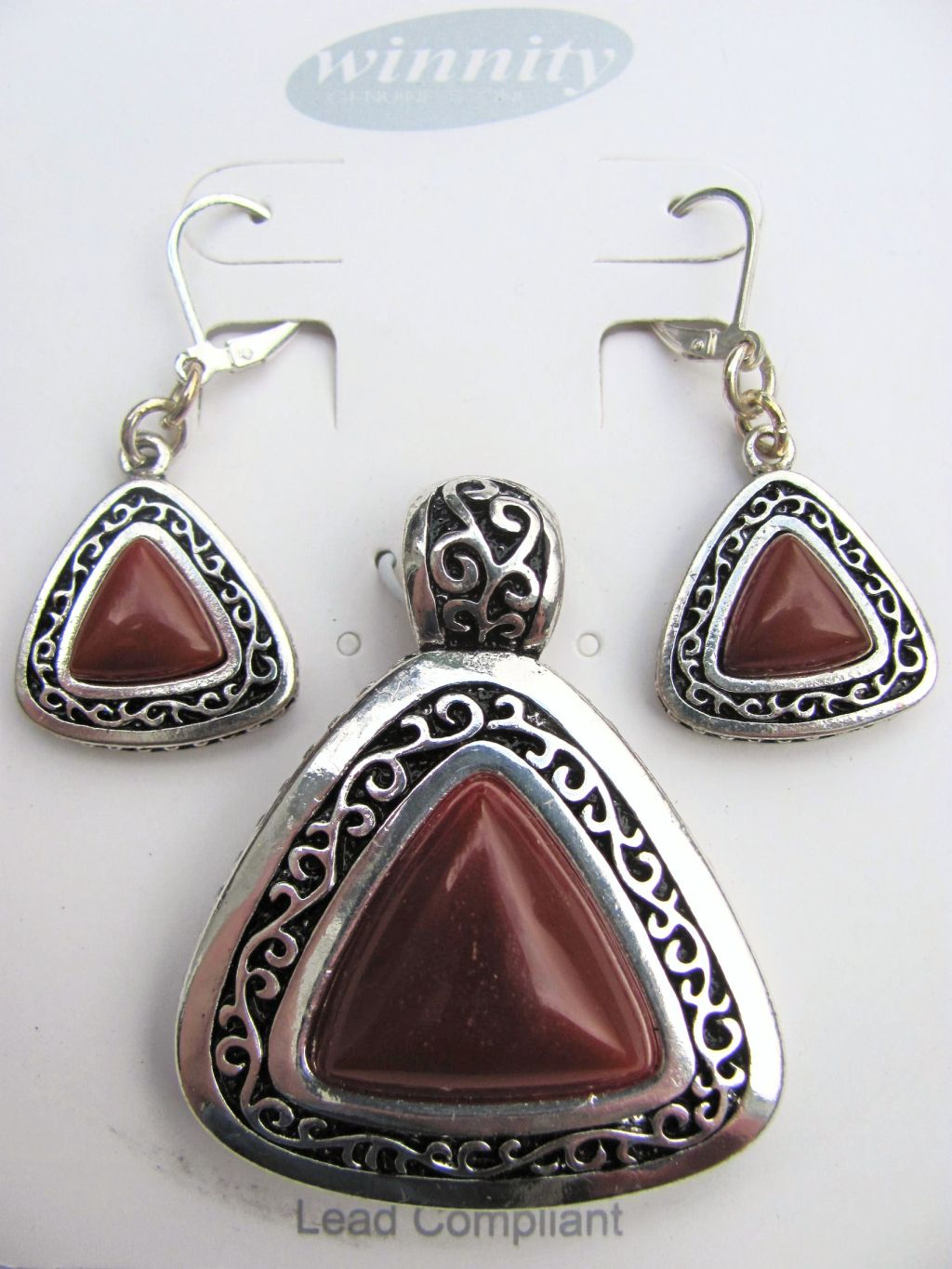Cornelian Vintage Triangle Pendant Earrings Set, Genuine Stone