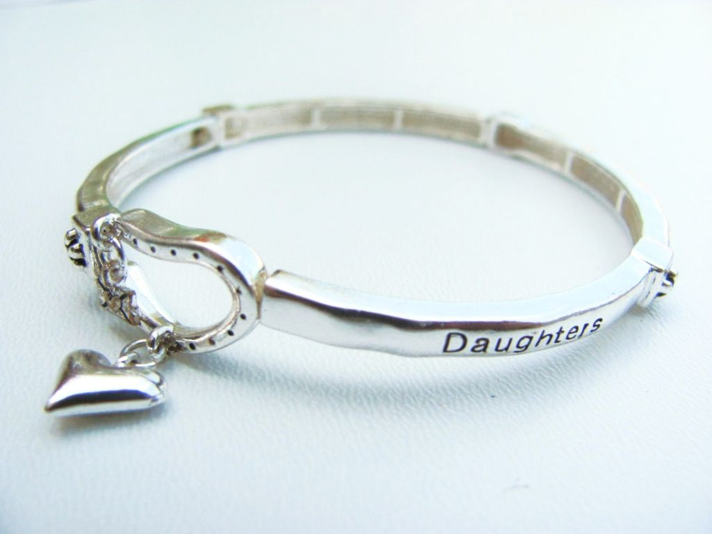 Daughter Blessing Heart Charm Bracelet, Inspirational Message Stretching Silver Bangle