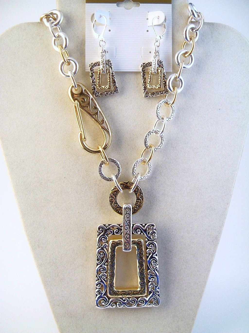 Vintage Filigree Two Tone Large Double Trapezoid Pendant Necklace Earrings Set