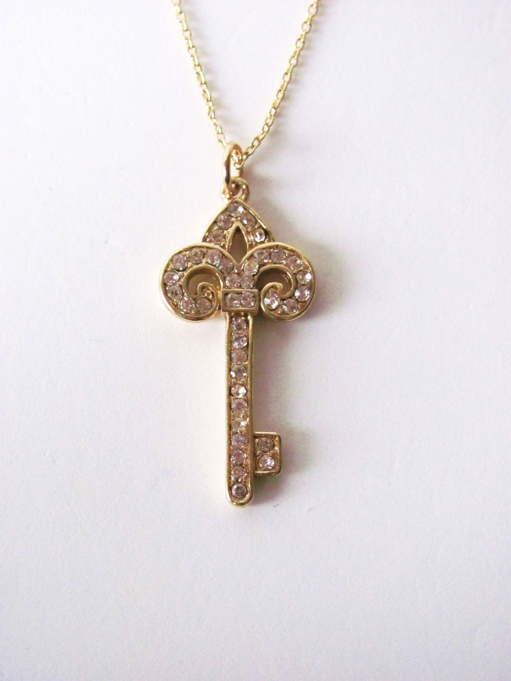Designer's Touch Key Pendant CZ Stones Chain Necklace Gold Tone
