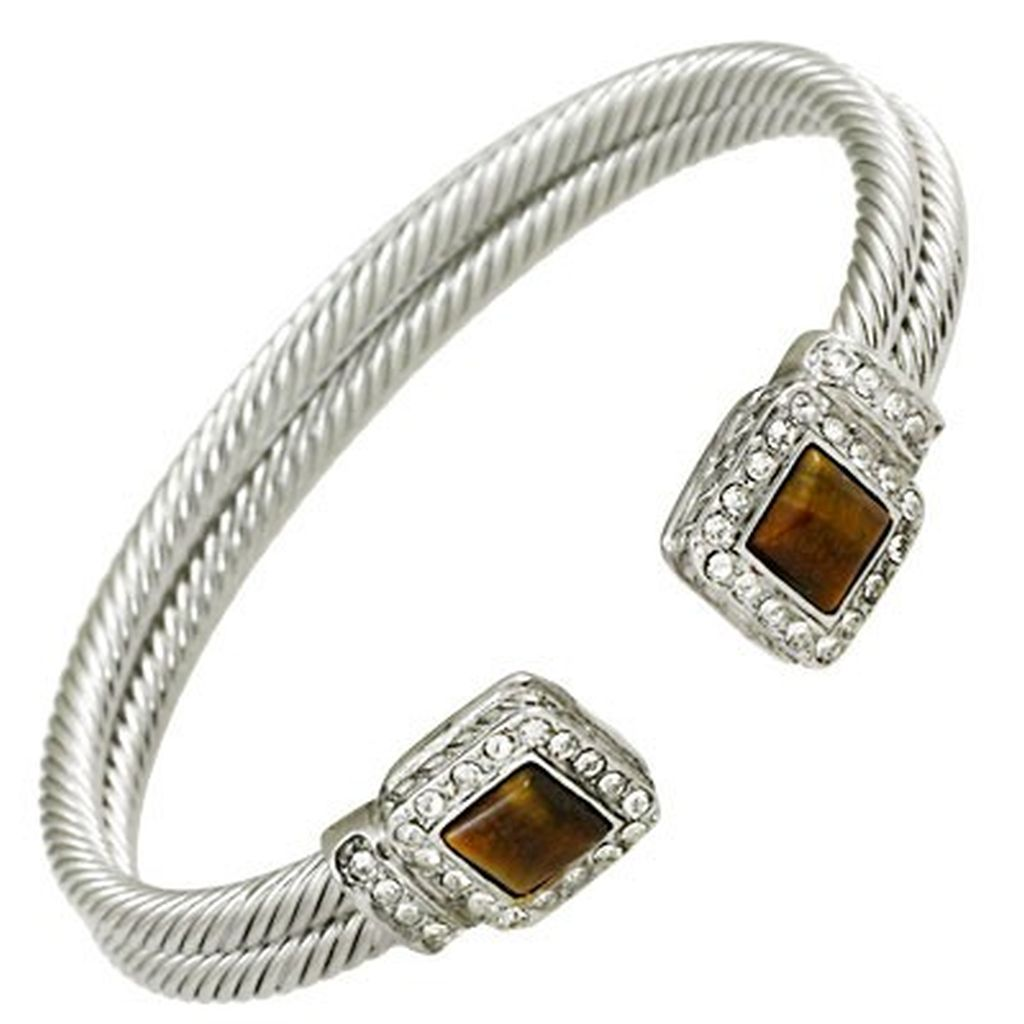 Designer`s Touch Tiger Eye Cuff Bracelet Rhinestones, Twisted Wire Double Cable