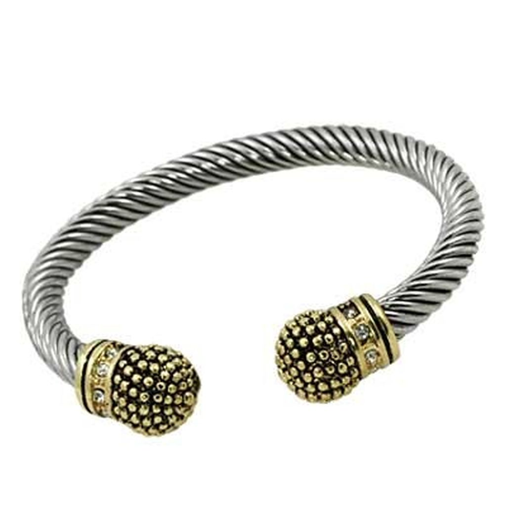 Designer`s Touch Two-Tone Gold Cuffs Twisted Wire Cable Bracelet, Vintage Style