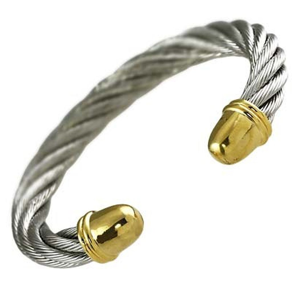 Designer`s Touch Cuff Bracelet Twisted Wire Cable Gold-Tone