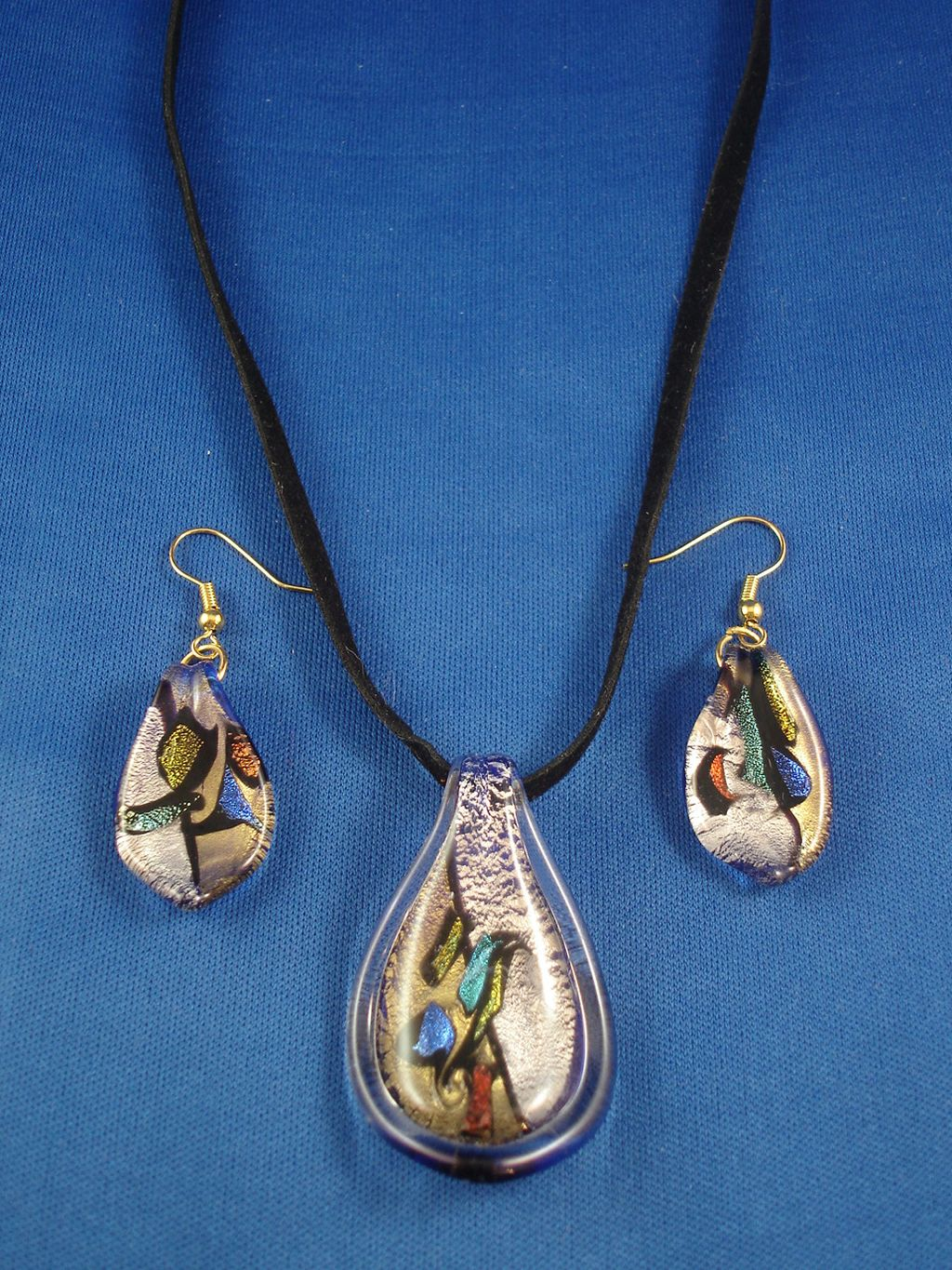 Summer Colors Drop Shape Stained Glass Pendant Necklace & Earrings