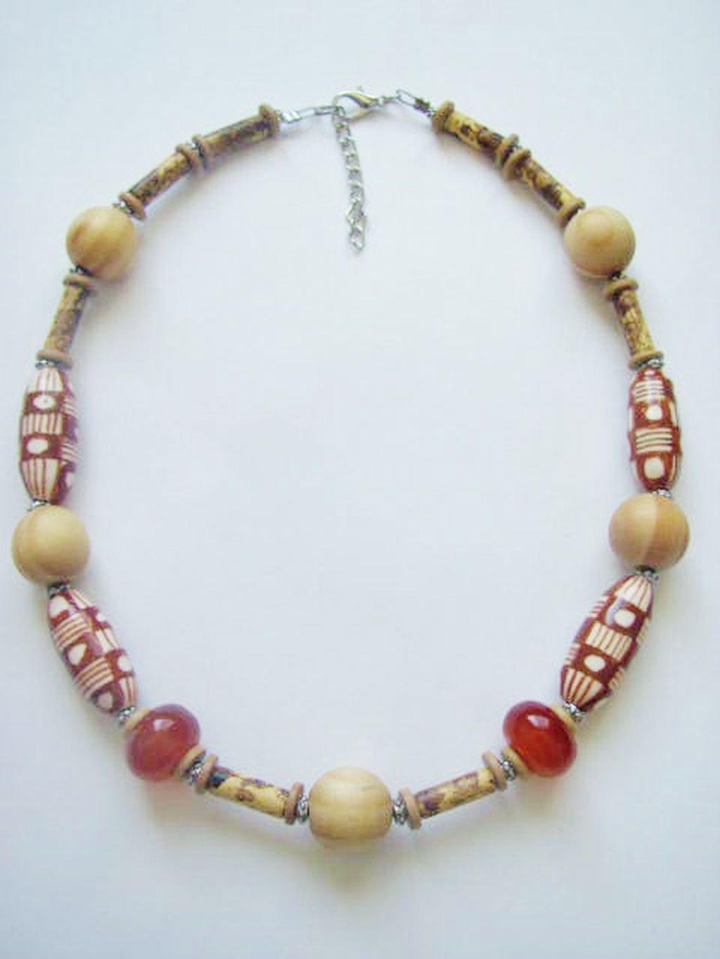 Dune Print Large Wood & Stone Bead Surfer Beach Necklace, Men's Unisex