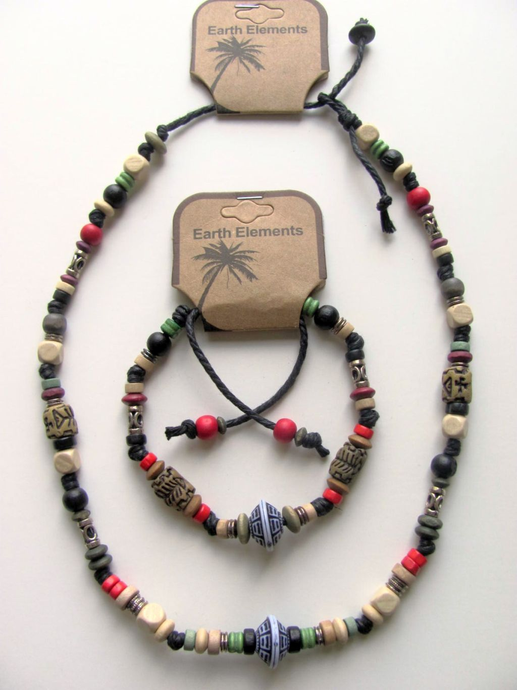 Barbados Earth Elements Spiritual Beaded Necklace Bracelet, Beach Surfer Men's Jewelry