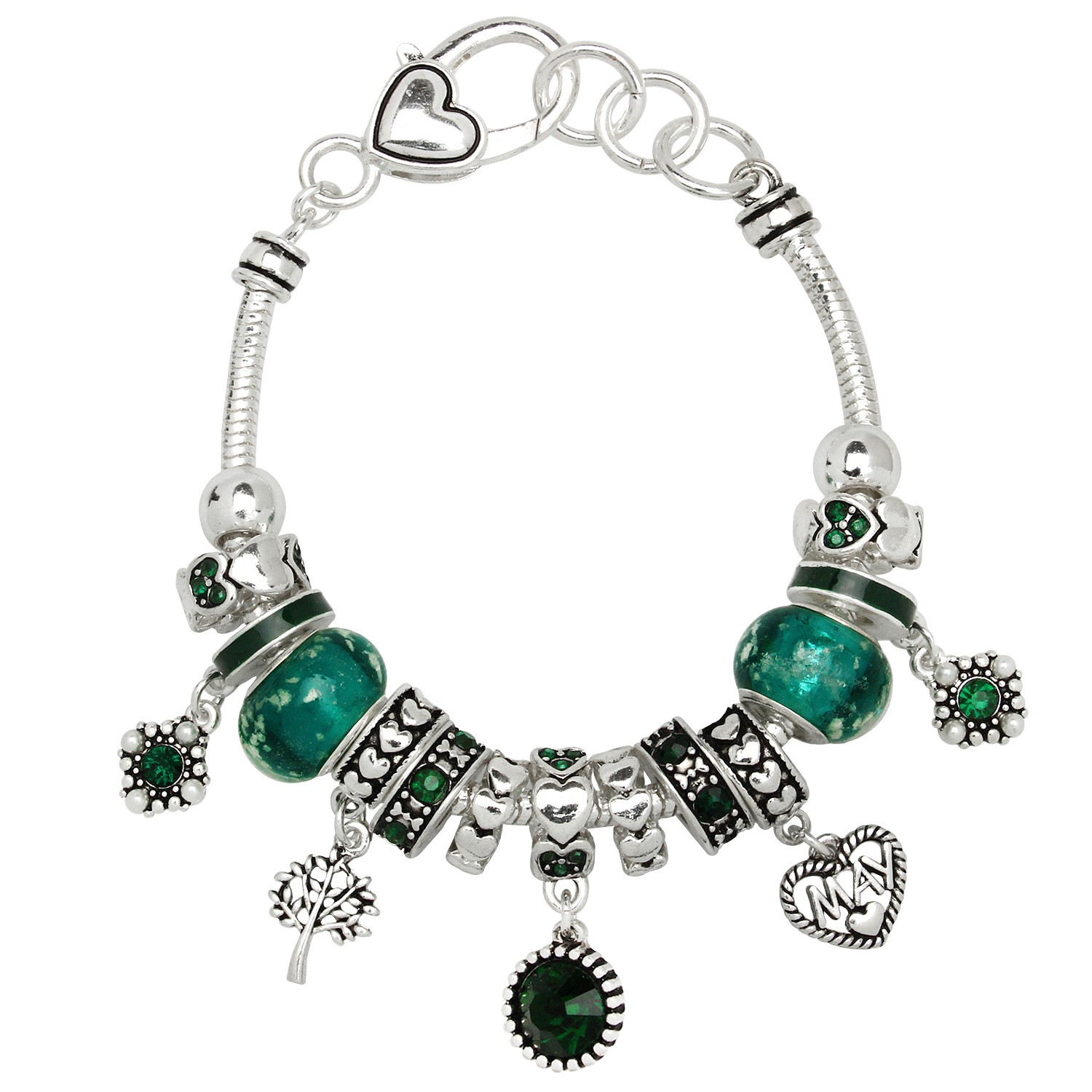 birthstone charm bracelet for emerald may birthstone charm bracelet murano 1741