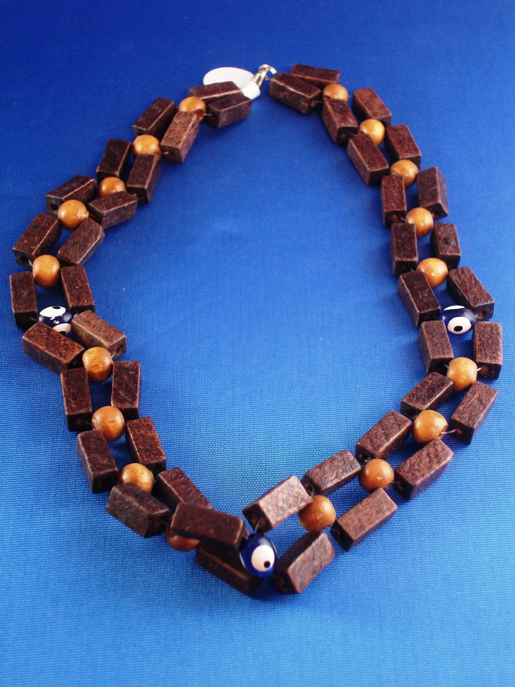 Evil Eye Necklace, Two Layers Cuboid Brown Wooden Beads