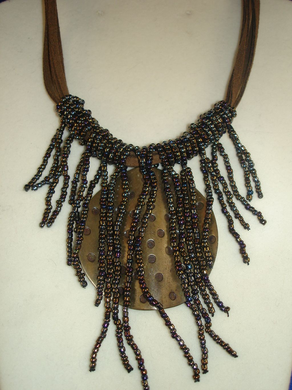 "Fashion Necklace, 2"" Large Bent Bronze Pendant, 4 Strings Leather Cord, Beads, Anti-allergic"