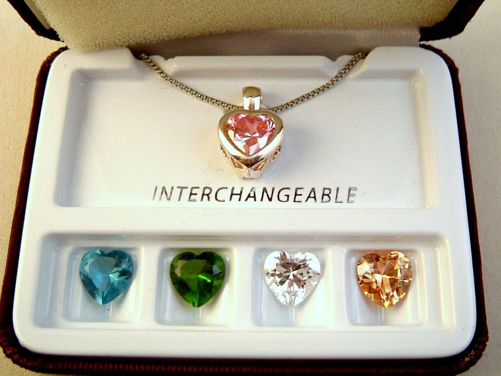 Five Interchangeable Austrian Crystals Heart Pendant Chain Necklace, Pink Zircon, Aquamarine, Emerald, Clear Diamond & Topaz, Jewelry Box