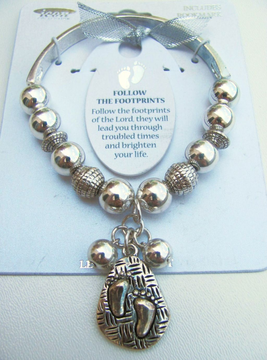 Follow The Footprints Charm Inspirational Message Bracelet, Silver Tone