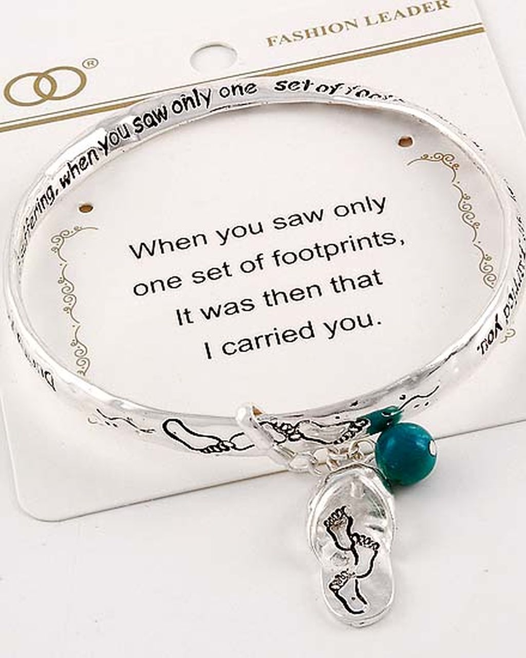 Footprints Charm Bracelet Inspirational Message Twisted Bangle Sliver
