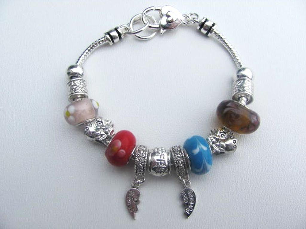 Pandora Inspired Friends Forever Bracelet Angel Wings Charm Bead