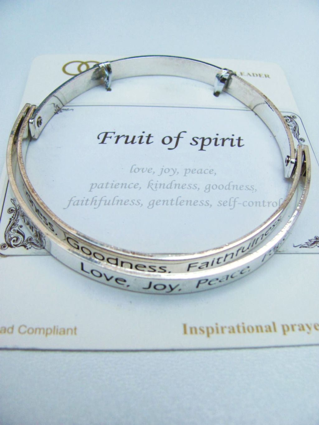 Fruit of the Spirit Inspirational Message Bangle Bracelet, Contemporary Style