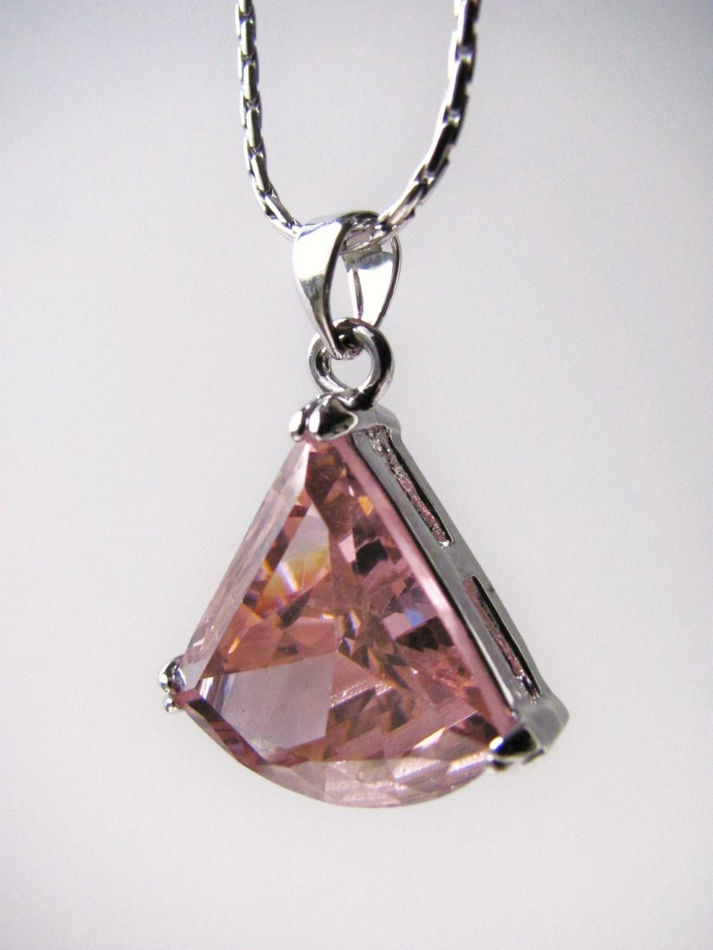 "Genuine CZ Stone Necklace, 5/8"" Pink Crystal Pendant, 16"" Chain"