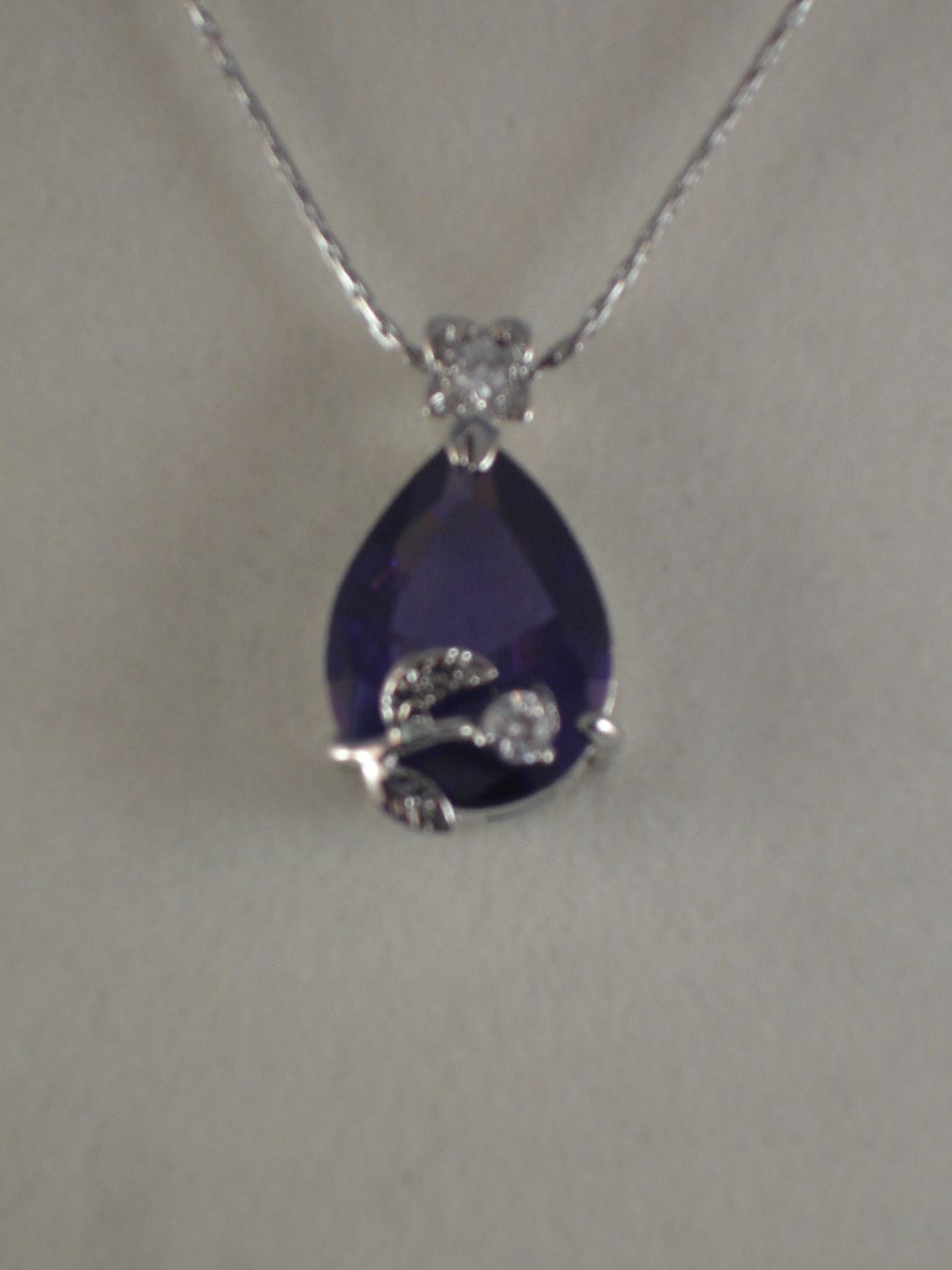 "Genuine CZ Stones Necklace, 1"" Blue Crystal Rose Pendant, 16"" Chain"