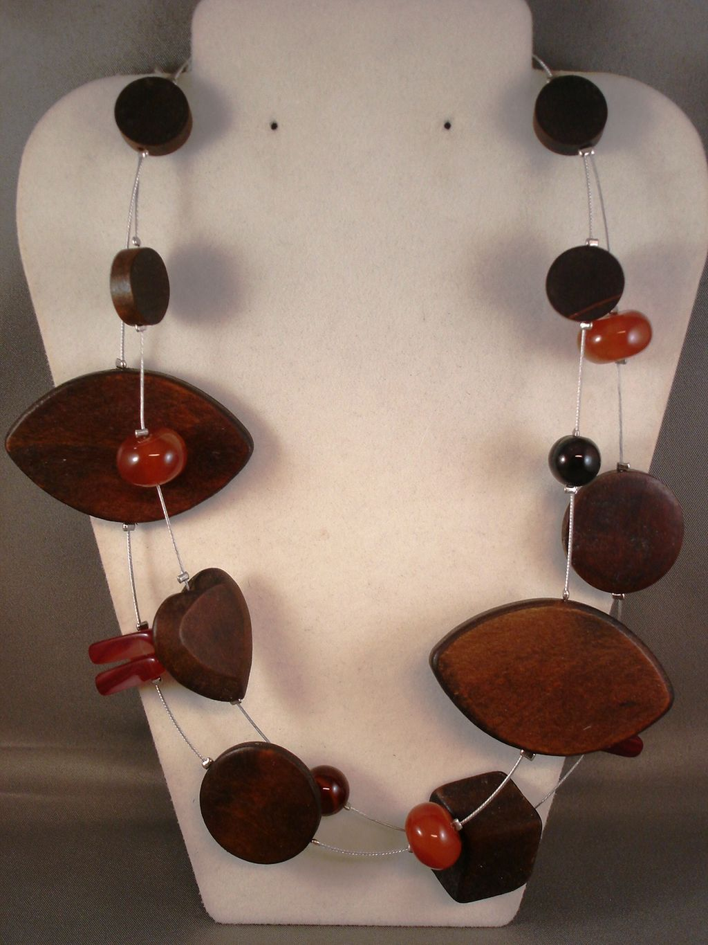 Genuine Carnelian Stones Brown Wood Contemporary Heart Necklace